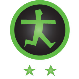 Afbeelding van het groene drempelvrij logo met twee sterren