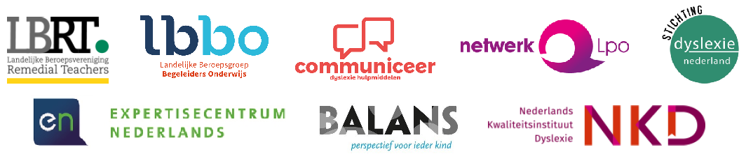 Logo's van de organisaties die samenwerken in het Stimuleringsprogramma Aanpak Dyslexie: LBRT, LBBO, Dyslexie Hulpmiddelen, Netwerk Lpo, Stichting Dyslexie Nederland, Expertisecentrum Nederlands, Balans, NKD