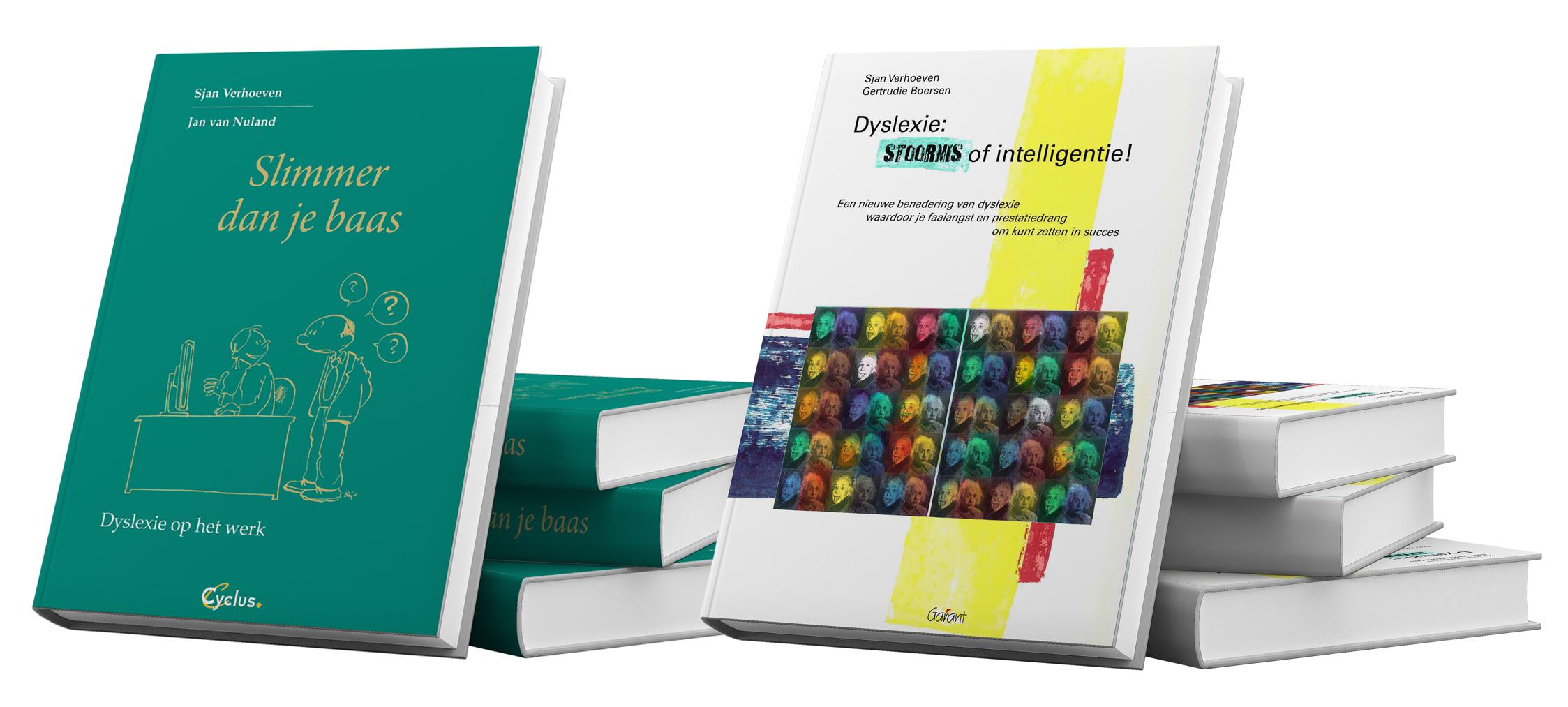 Afbeelding van de boeken 'Slimmer dan je baas' en 'Dyslexie: Stoornis of intelligentie'